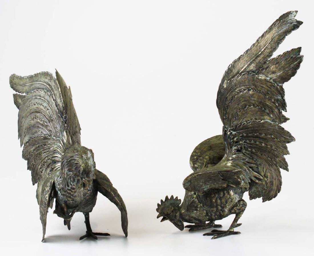 finely detailed silver fighting rooster figures - 2
