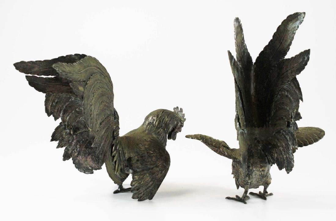 finely detailed silver fighting rooster figures - 3