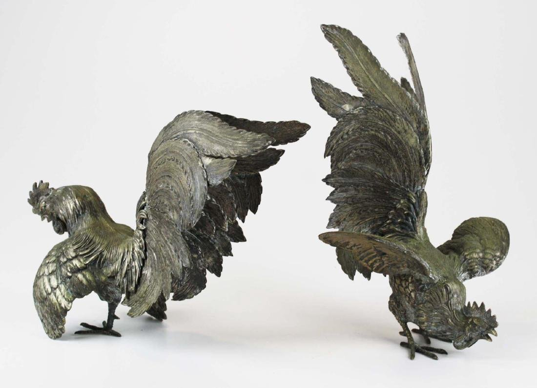 finely detailed silver fighting rooster figures - 4