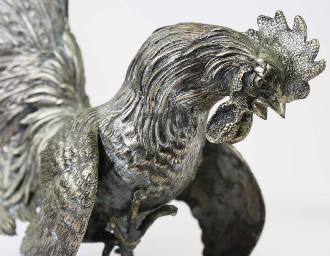 finely detailed silver fighting rooster figures - 5