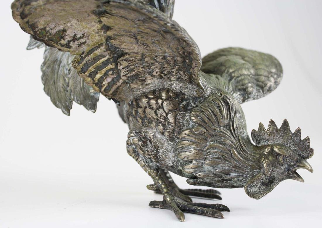 finely detailed silver fighting rooster figures - 7
