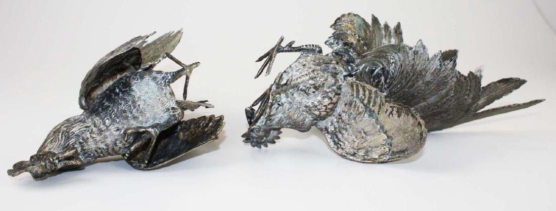 finely detailed silver fighting rooster figures - 9