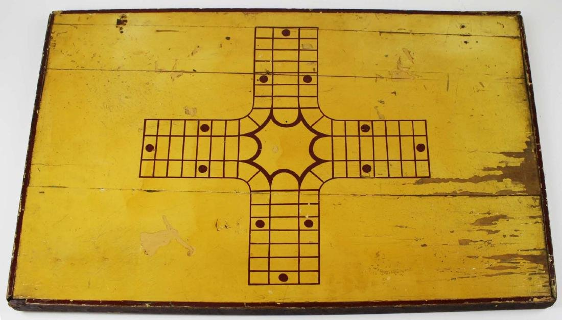 early 20th c game board w/ Parchesi reverse