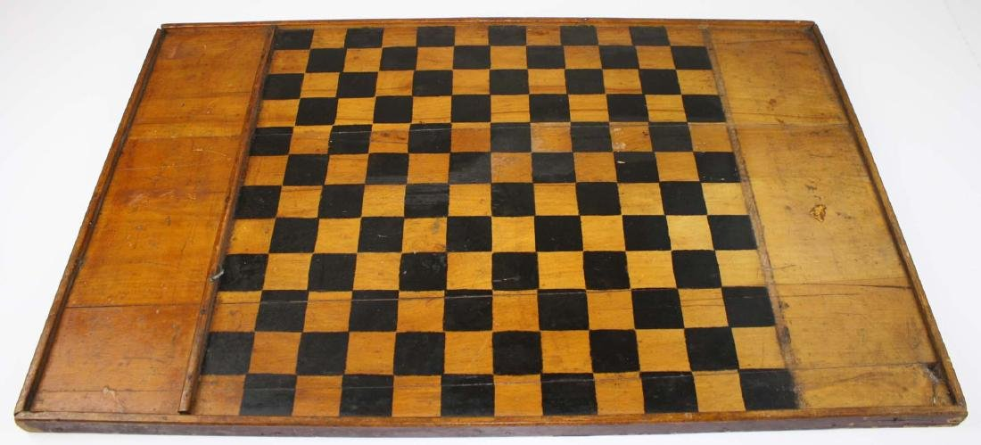 early 20th c game board w/ Parchesi reverse - 2