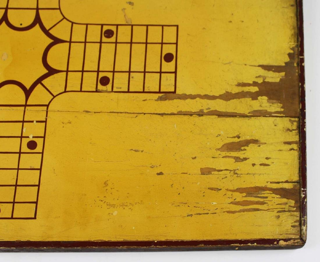early 20th c game board w/ Parchesi reverse - 3