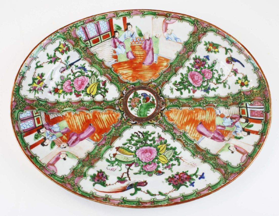 ca 1900 Chinese export rose medallion platter