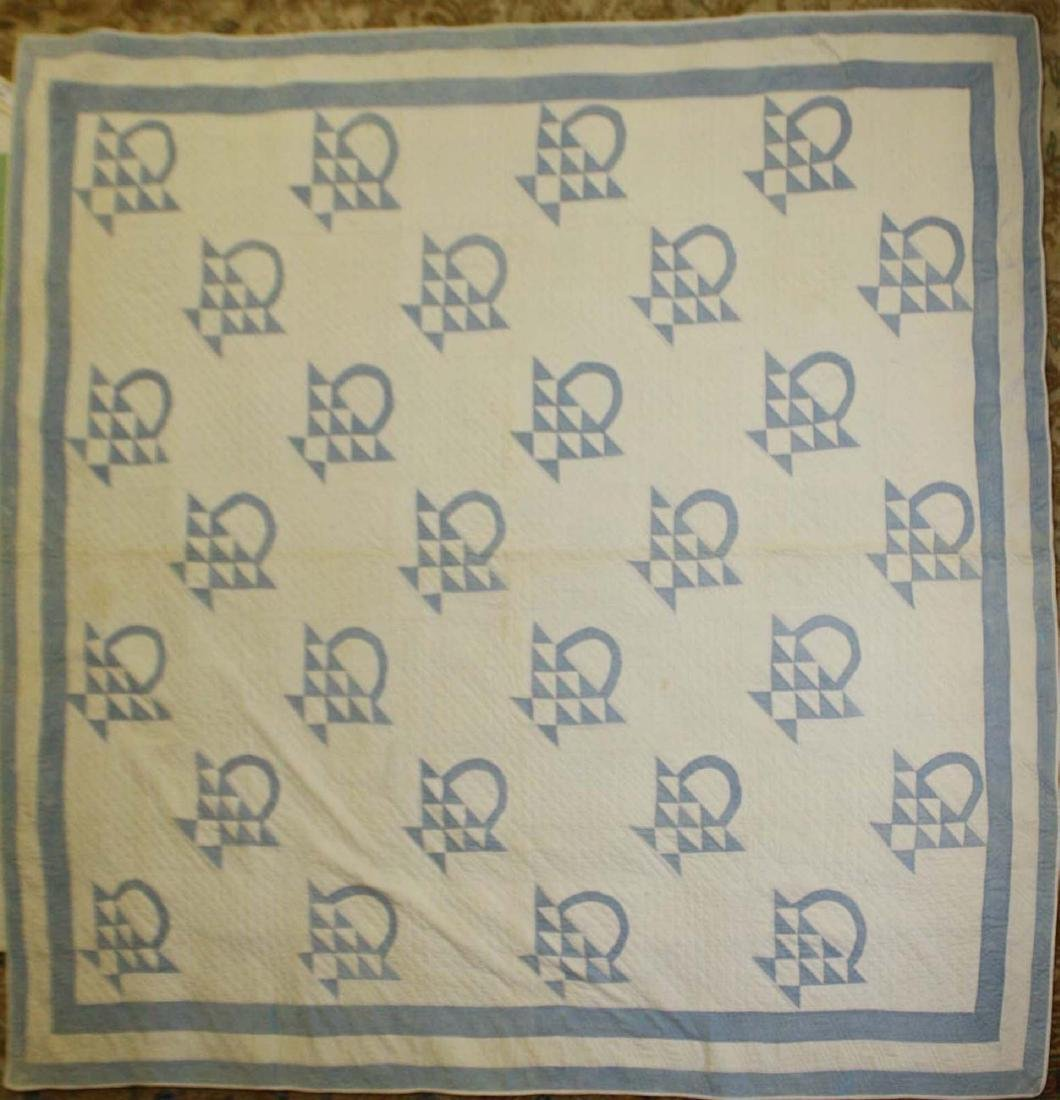 early 20th c basket pattern pieced quilt - 3
