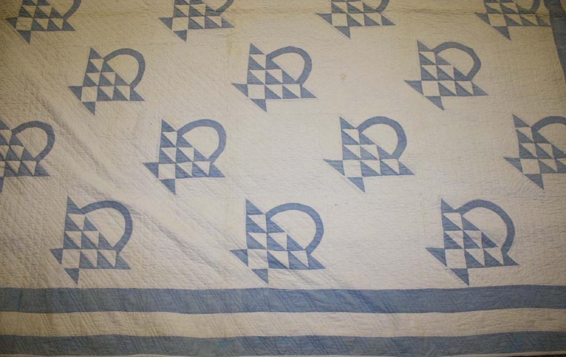 early 20th c basket pattern pieced quilt - 4