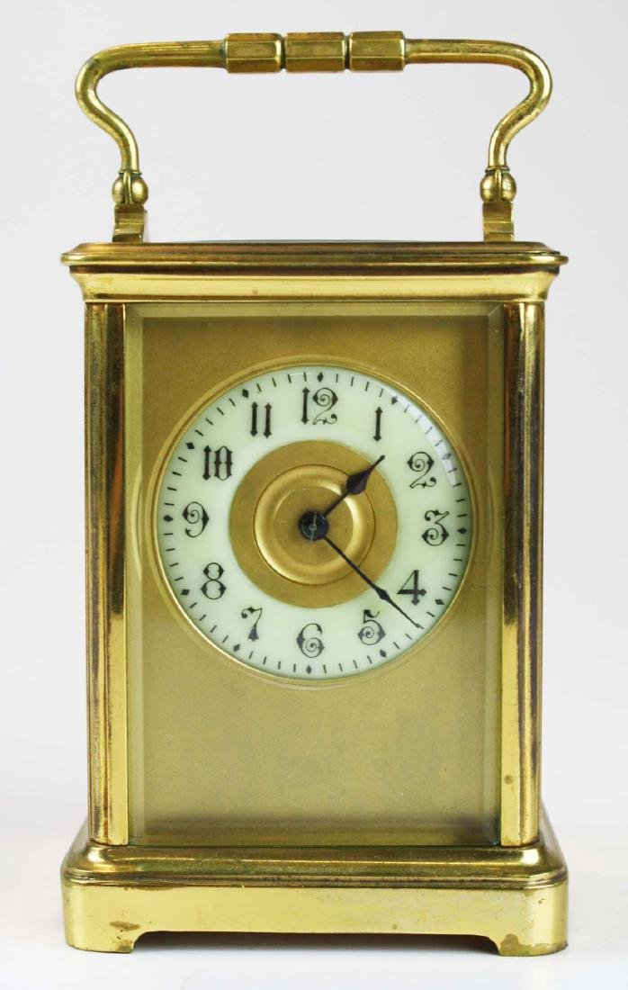 early 20th c gilt brass carriage clock