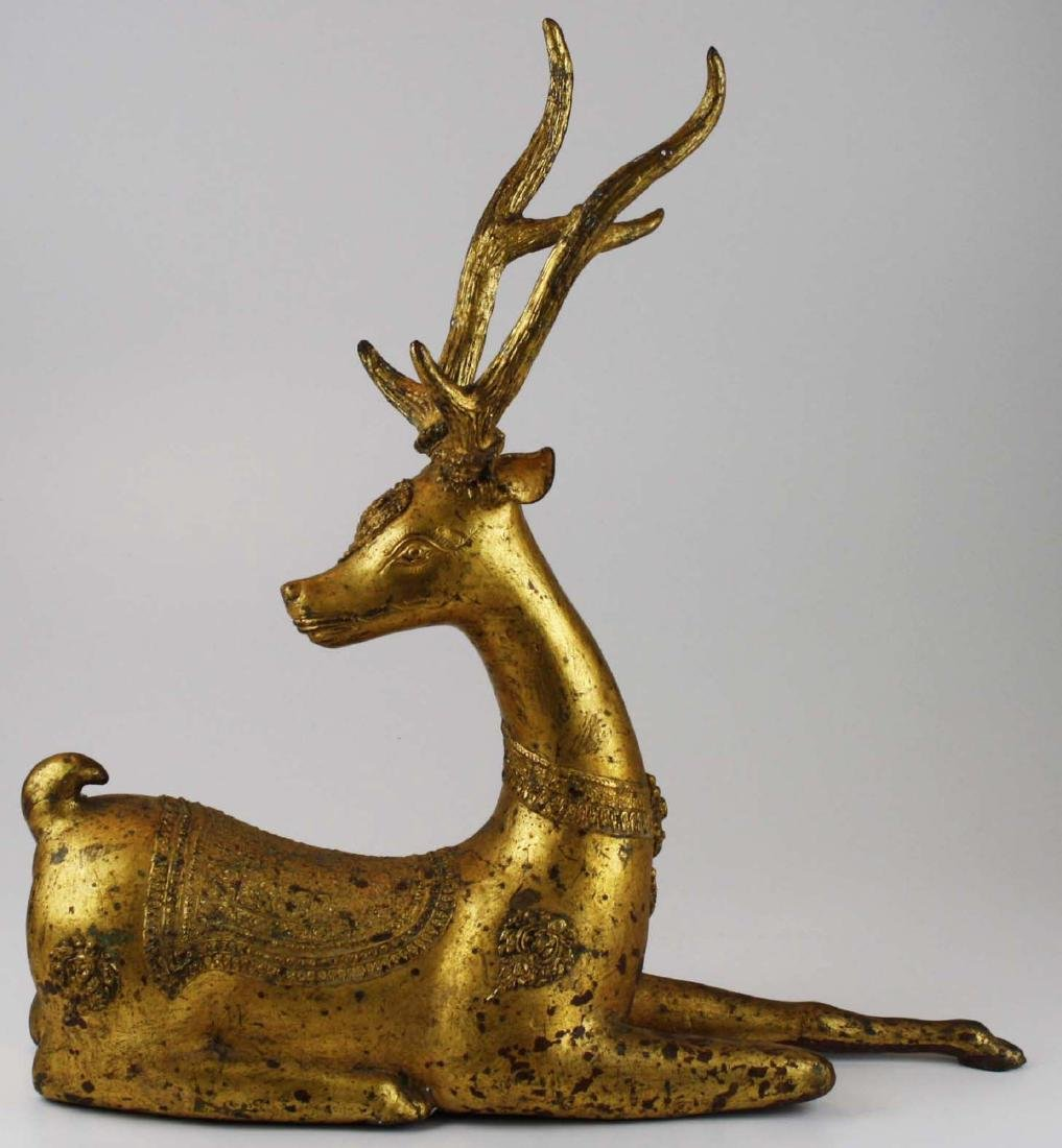 20th c India gilt bronze deer - 3