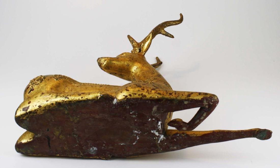 20th c India gilt bronze deer - 8