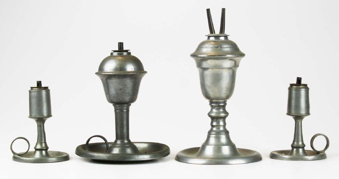 four early 19th c pewter lamps/ lighting devices