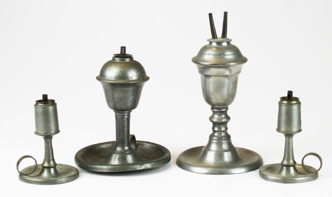 four early 19th c pewter lamps/ lighting devices - 3