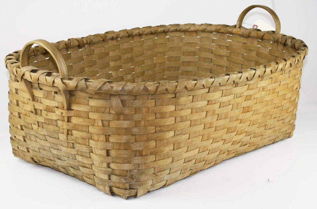 late 19th c New England woven splint basket - 2
