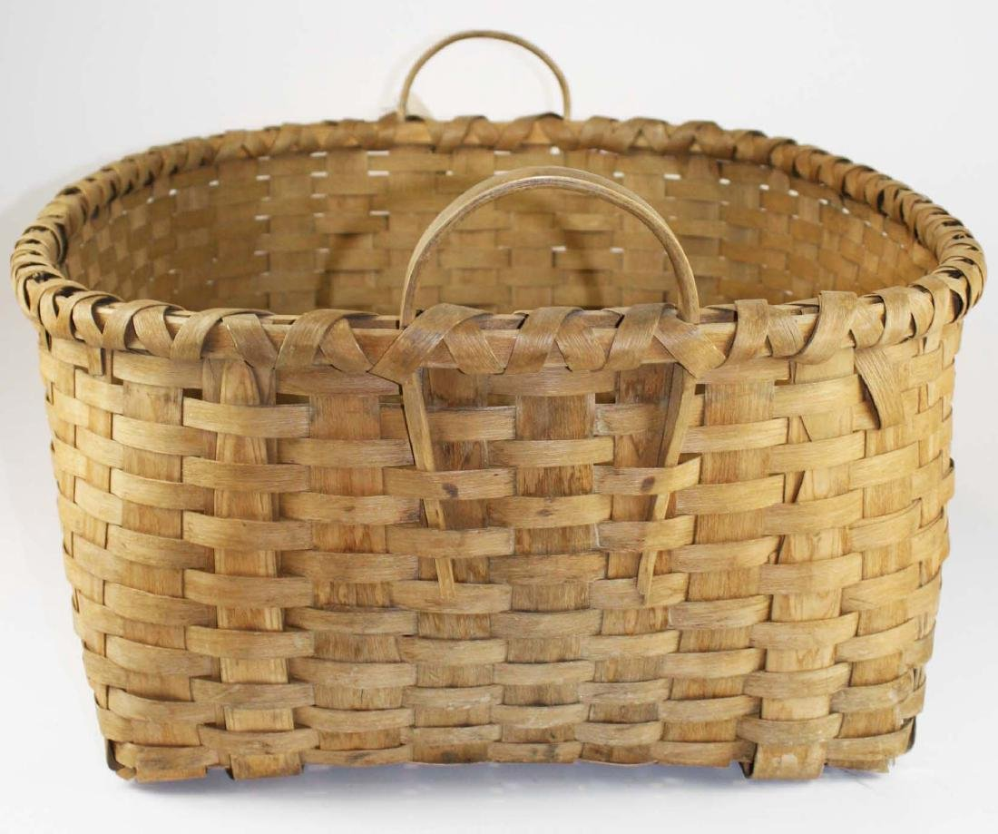 late 19th c New England woven splint basket - 3