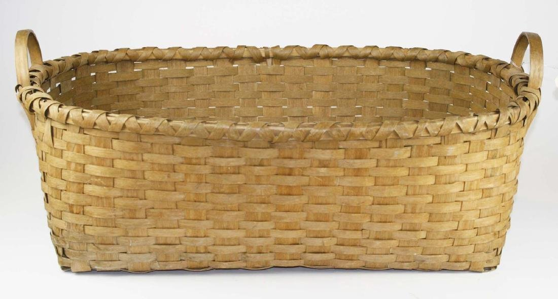 late 19th c New England woven splint basket - 4