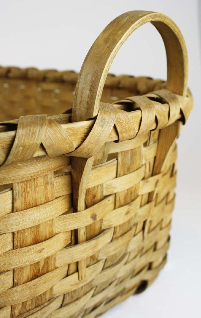 late 19th c New England woven splint basket - 5