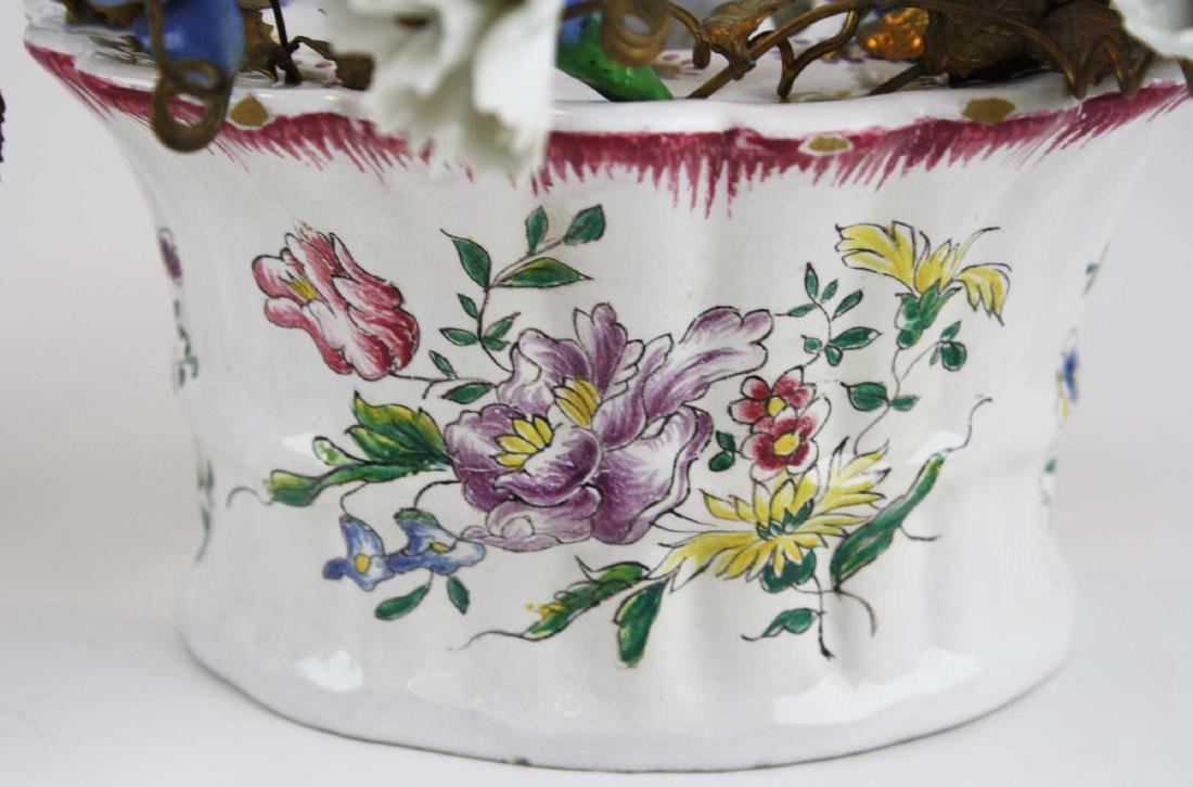 pr of early 20th c French/ Italian flower wall pockets - 2