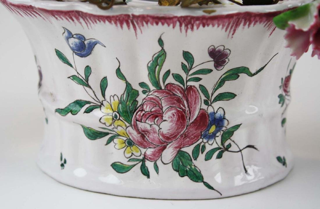 pr of early 20th c French/ Italian flower wall pockets - 3