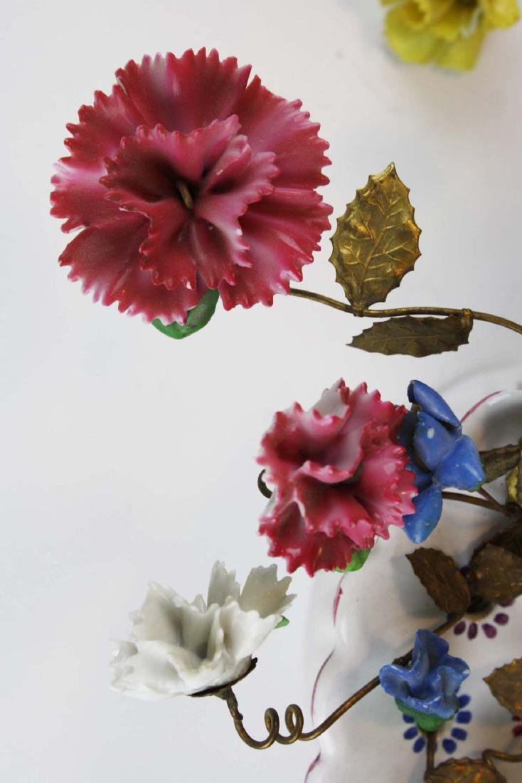 pr of early 20th c French/ Italian flower wall pockets - 4