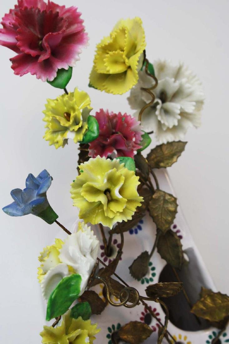 pr of early 20th c French/ Italian flower wall pockets - 5