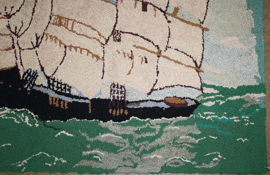 early 20th c clipper ship hooked rug - 2
