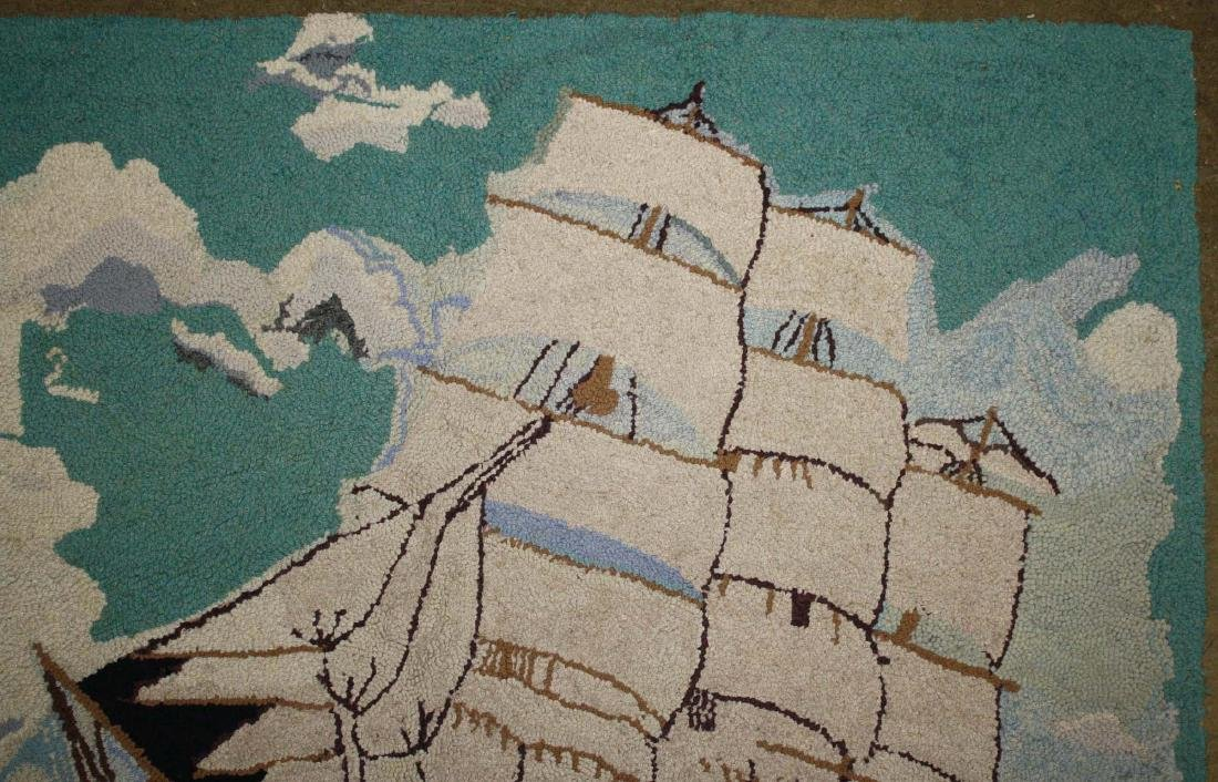 early 20th c clipper ship hooked rug - 4