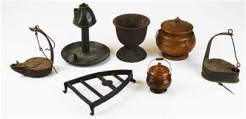 late 18th- early 19th c tin, cast iron, woodenware