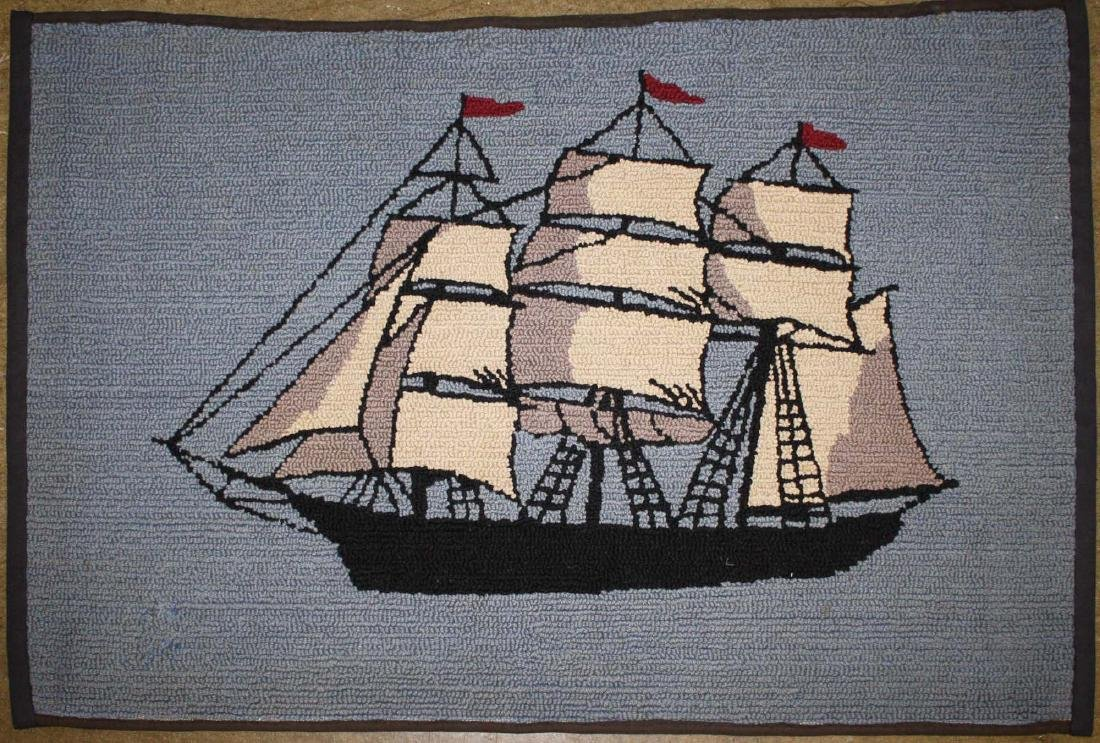 early 20th c clipper ship hooked rug