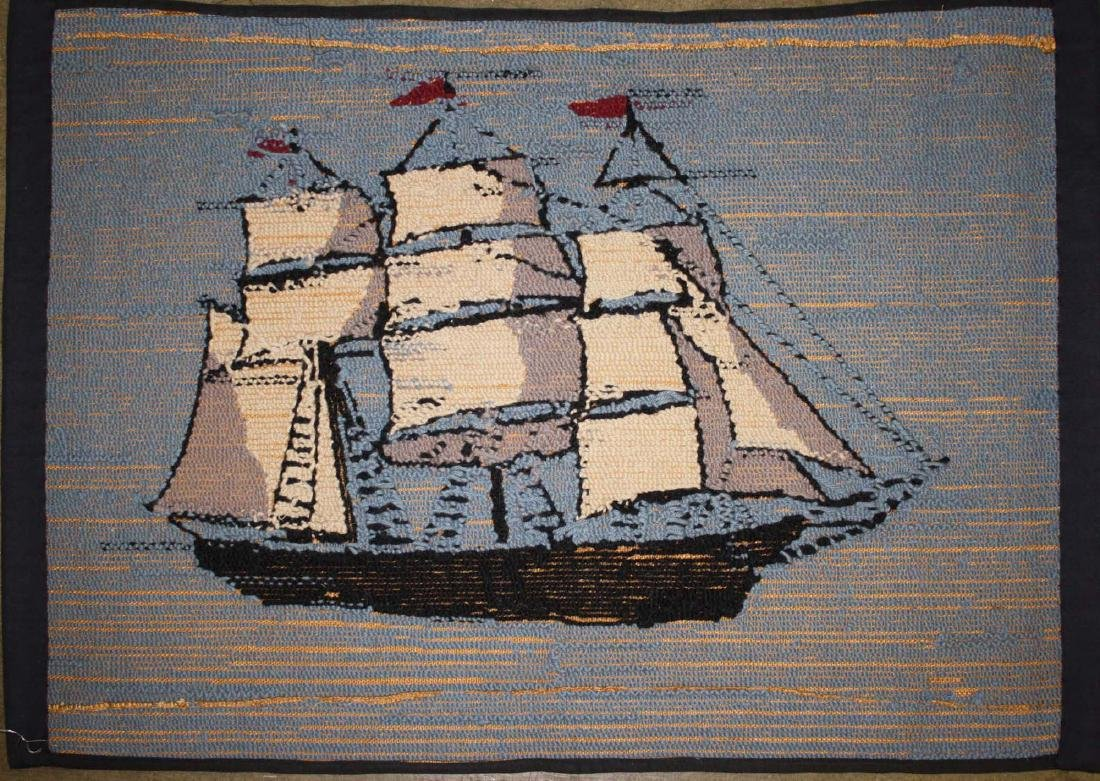 early 20th c clipper ship hooked rug - 3