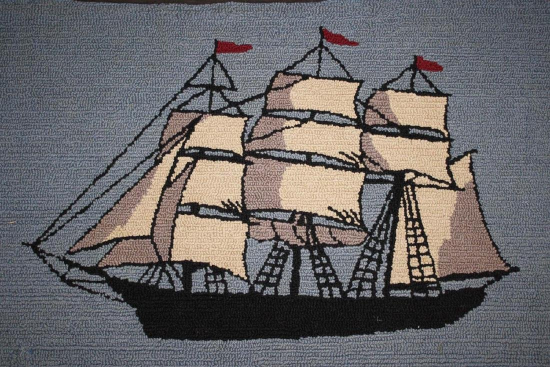 early 20th c clipper ship hooked rug - 5