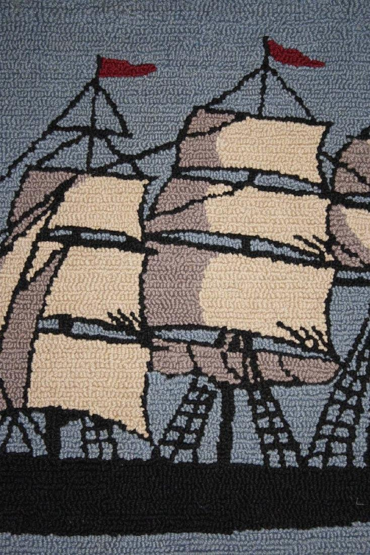 early 20th c clipper ship hooked rug - 6
