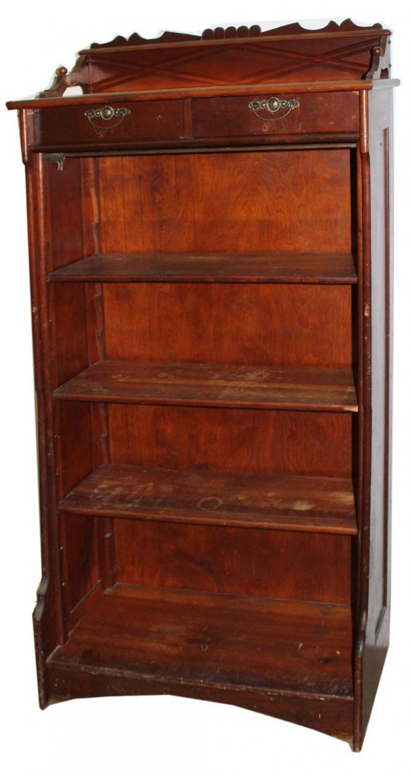 Victorian cherry open front bookcase - 2