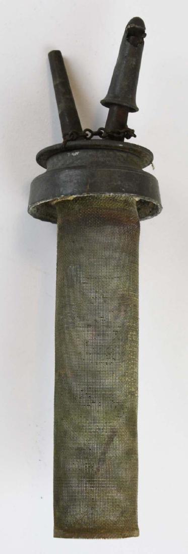 early 19th c blown glass lamp w/ folded rim on base - 3