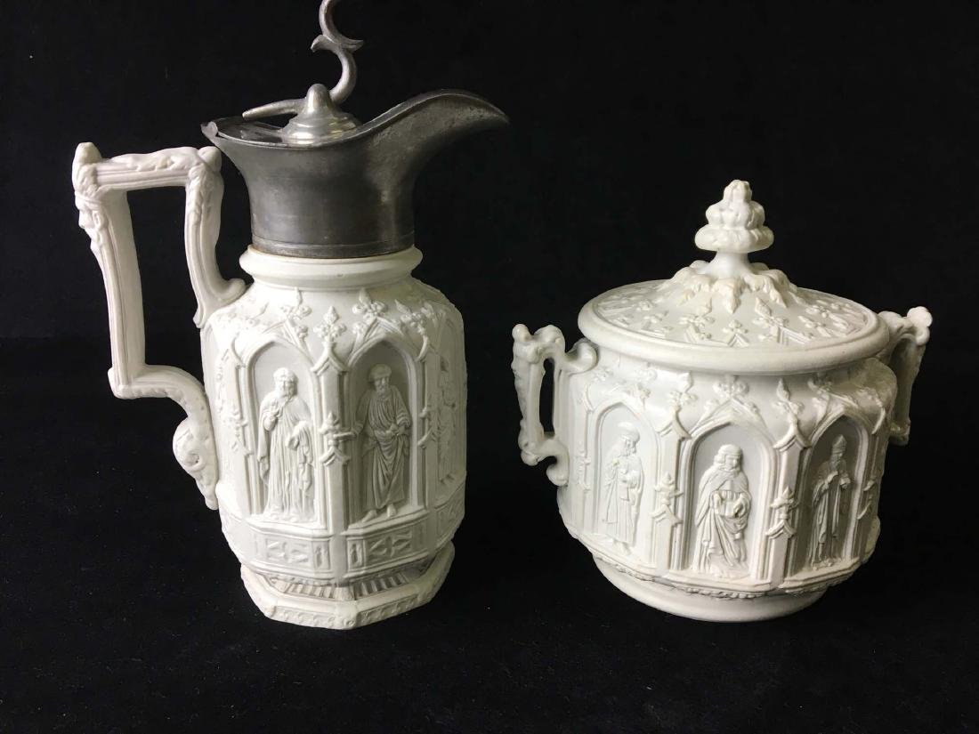 Parian ware syrup and sugar