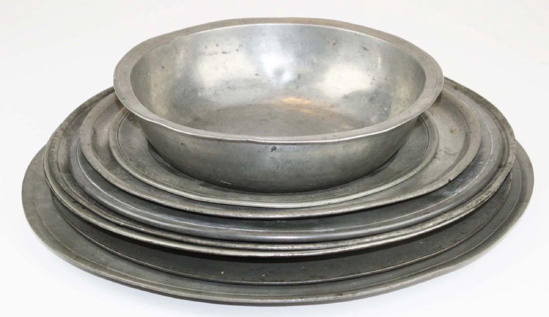 late 18th- early 19th c pewter chargers & basin
