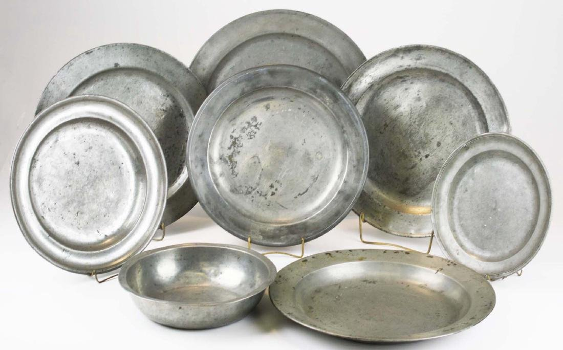 late 18th- early 19th c pewter chargers & basin - 2