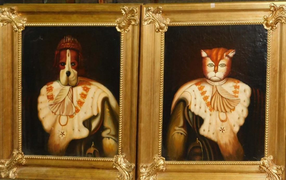 Pair of unusual 20thc Anthropomorphic portraits