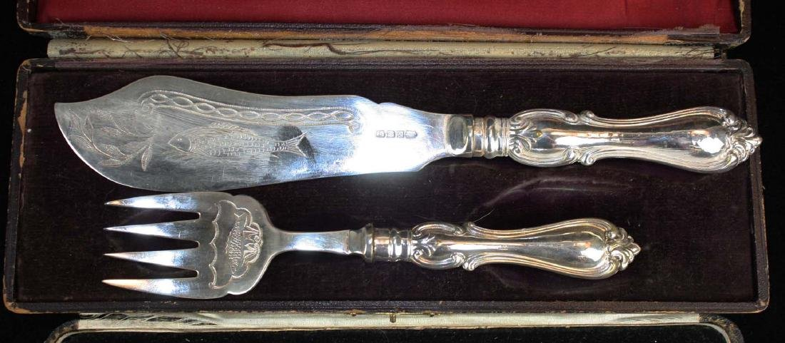 2 cased English silver cutlery sets - 2