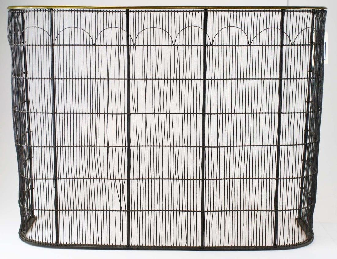 early 19th c brass & wire grill fire screen