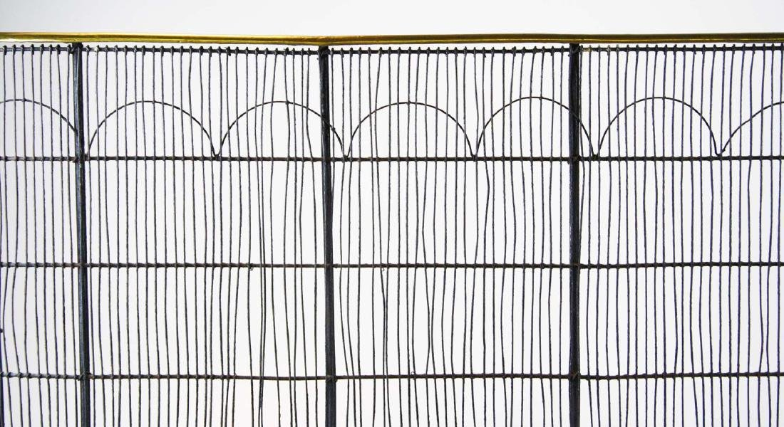 early 19th c brass & wire grill fire screen - 2