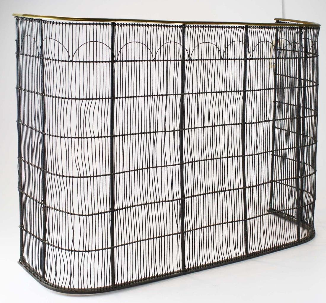 early 19th c brass & wire grill fire screen - 3