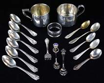 2 sterling baby cups, plated souvenir spoons