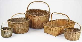 5 late 19th c New England woven splint baskets