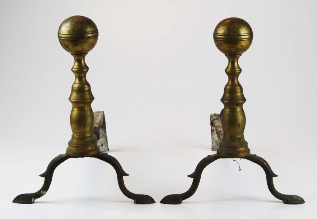 early 19th c Boston ball top andirons w/ slipper feet