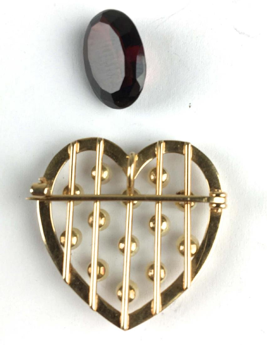 14k yellow gold and pearl heart pin brooch. - 2
