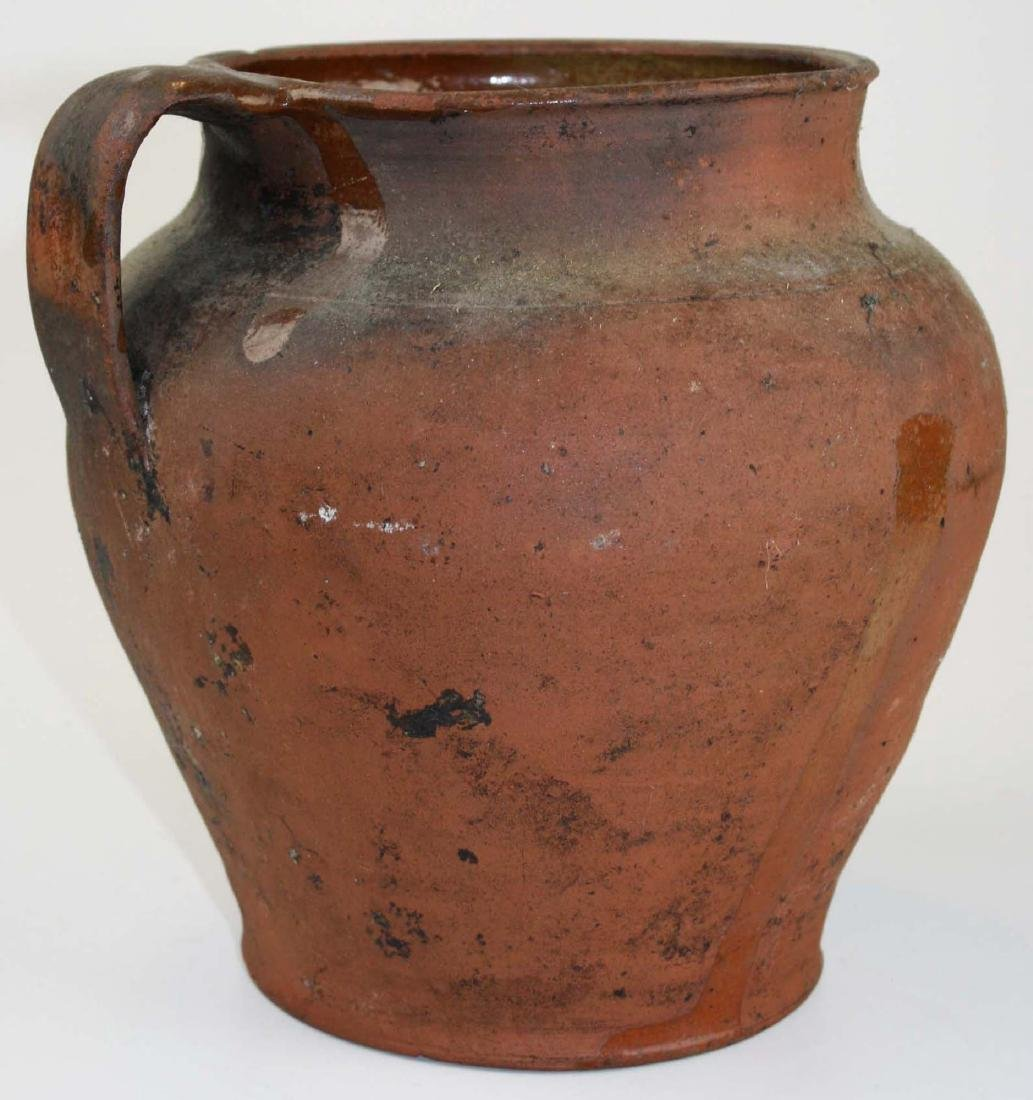 early 19th c redware jar w/ red interior glaze
