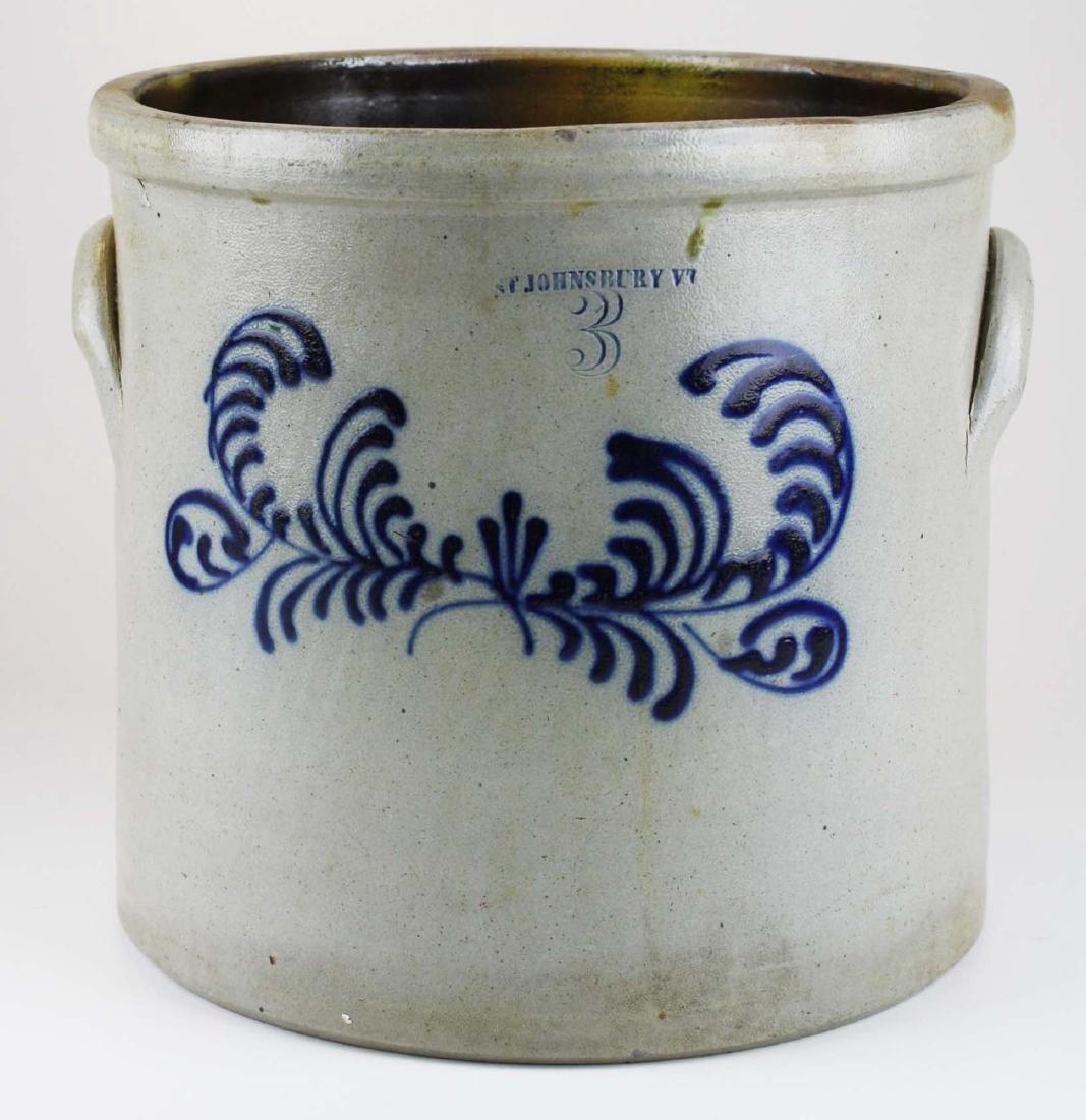 19th c St. Johnsbury, Vt 3 gallon blue crock