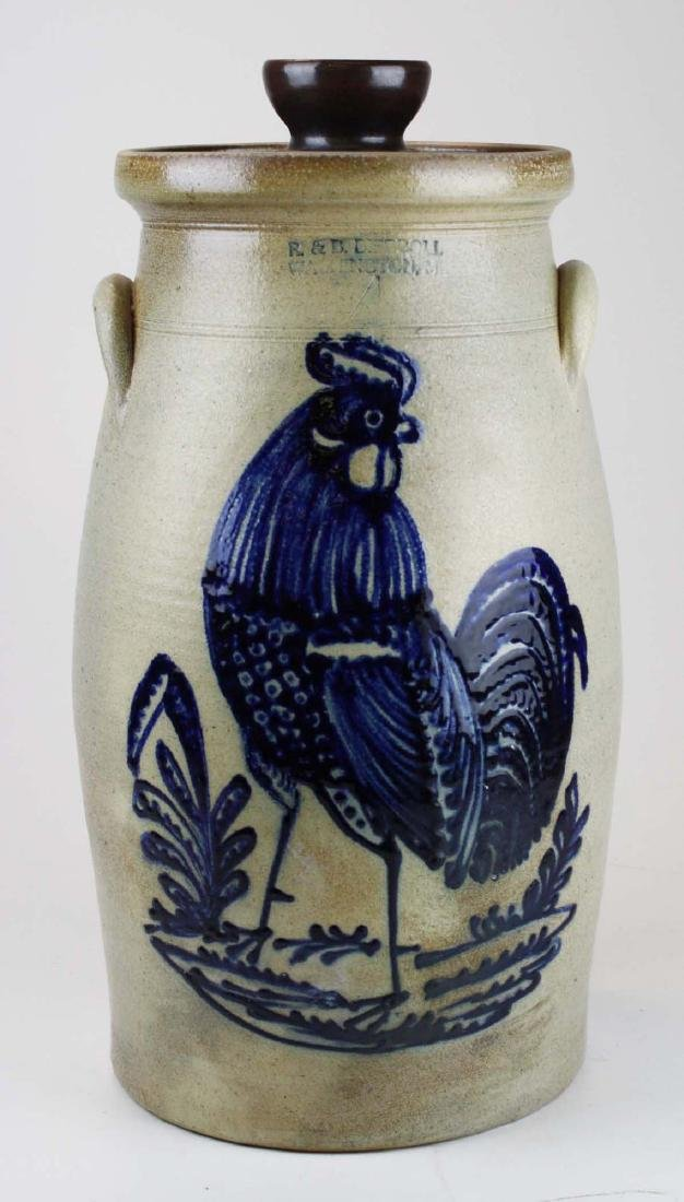 R & B Dieboll rooster decorated stoneware churn