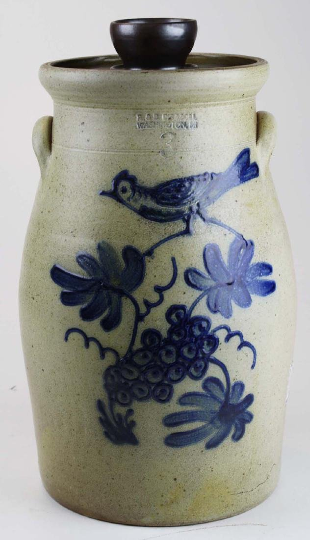 R & B Dieboll bird decorated stoneware churn